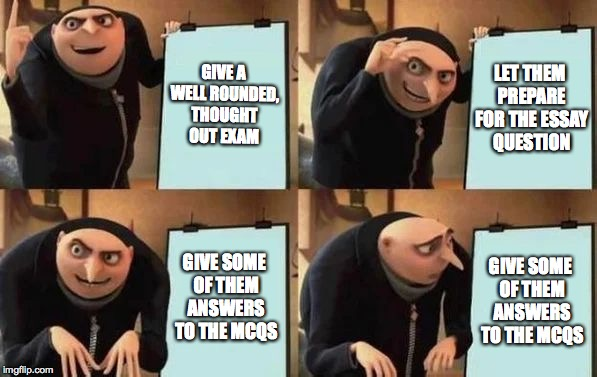 Gru's Plan | GIVE A WELL ROUNDED, THOUGHT OUT EXAM LET THEM PREPARE FOR THE ESSAY QUESTION GIVE SOME OF THEM ANSWERS TO THE MCQS GIVE SOME OF THEM ANSWER | image tagged in gru's plan | made w/ Imgflip meme maker
