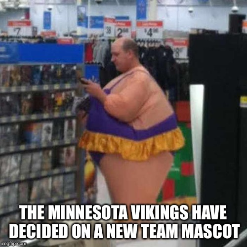 THE MINNESOTA VIKINGS HAVE DECIDED ON A NEW TEAM MASCOT | image tagged in minnesota vikings,people of walmart | made w/ Imgflip meme maker