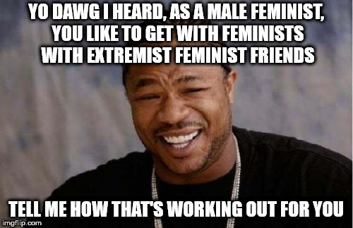 Yo Dawg Heard You Meme | YO DAWG I HEARD, AS A MALE FEMINIST, YOU LIKE TO GET WITH FEMINISTS WITH EXTREMIST FEMINIST FRIENDS TELL ME HOW THAT'S WORKING OUT FOR YOU | image tagged in memes,yo dawg heard you | made w/ Imgflip meme maker