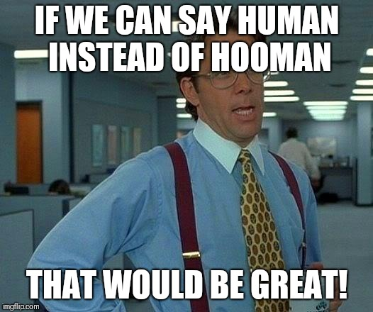 That Would Be Great Meme | IF WE CAN SAY HUMAN INSTEAD OF HOOMAN THAT WOULD BE GREAT! | image tagged in memes,that would be great | made w/ Imgflip meme maker