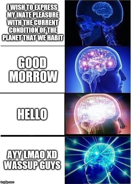 Expanding Brain Meme | I WISH TO EXPRESS MY INATE PLEASURE WITH THE CURRENT CONDITION OF THE PLANET THAT WE HABIT GOOD MORROW HELLO AYY LMAO XD WASSUP GUYS | image tagged in memes,expanding brain | made w/ Imgflip meme maker