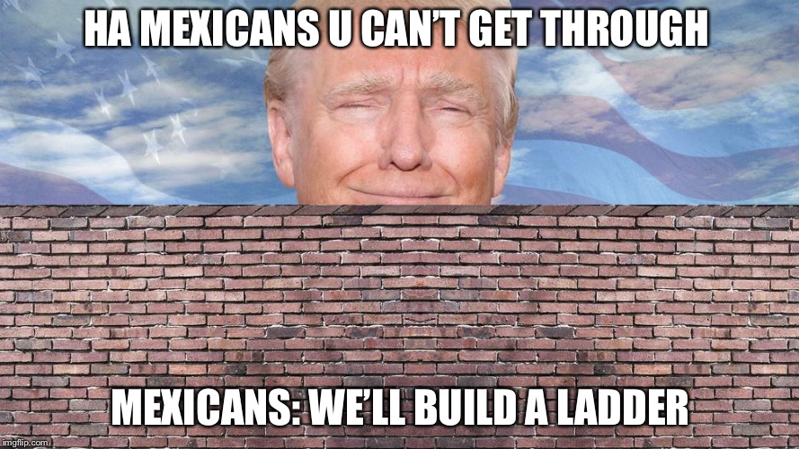 Trump Wall | HA MEXICANS U CAN'T GET THROUGH MEXICANS: WE'LL BUILD A LADDER | image tagged in trump wall | made w/ Imgflip meme maker