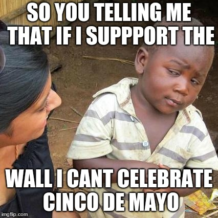 Third World Skeptical Kid Meme | SO YOU TELLING ME THAT IF I SUPPPORT THE WALL I CANT CELEBRATE CINCO DE MAYO | image tagged in memes,third world skeptical kid | made w/ Imgflip meme maker