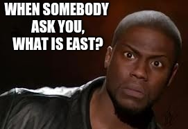 Kevin Hart Meme | WHEN SOMEBODY ASK YOU, WHAT IS EAST? | image tagged in memes,kevin hart the hell | made w/ Imgflip meme maker