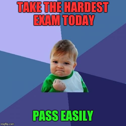 Success Kid Meme | TAKE THE HARDEST EXAM TODAY PASS EASILY | image tagged in memes,success kid | made w/ Imgflip meme maker