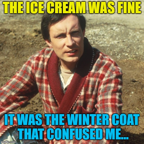 THE ICE CREAM WAS FINE IT WAS THE WINTER COAT THAT CONFUSED ME... | made w/ Imgflip meme maker