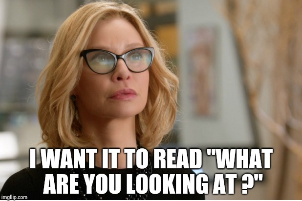 "Callista Flockhart | I WANT IT TO READ ""WHAT ARE YOU LOOKING AT ?"" 