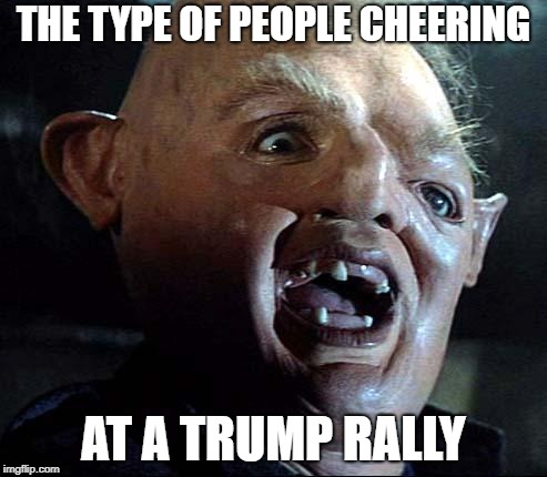Sloth Goonies | THE TYPE OF PEOPLE CHEERING AT A TRUMP RALLY | image tagged in sloth goonies | made w/ Imgflip meme maker