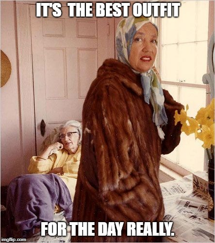 IT'S  THE BEST OUTFIT FOR THE DAY REALLY. | image tagged in grey gardens | made w/ Imgflip meme maker