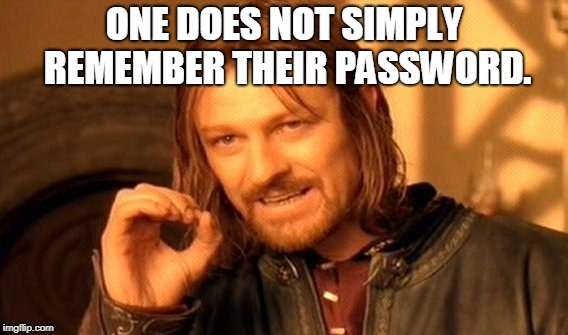 One Does Not Simply Meme | ONE DOES NOT SIMPLY REMEMBER THEIR PASSWORD. | image tagged in memes,one does not simply | made w/ Imgflip meme maker