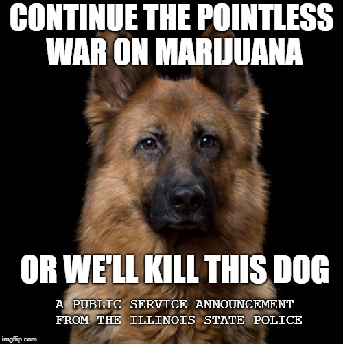 CONTINUE THE POINTLESS WAR ON MARIJUANA OR WE'LL KILL THIS DOG A PUBLIC SERVICE ANNOUNCEMENT FROM THE ILLINOIS STATE POLICE | image tagged in illinois,war on drugs | made w/ Imgflip meme maker