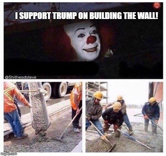 I SUPPORT TRUMP ON BUILDING THE WALL! | image tagged in pennywise cement | made w/ Imgflip meme maker