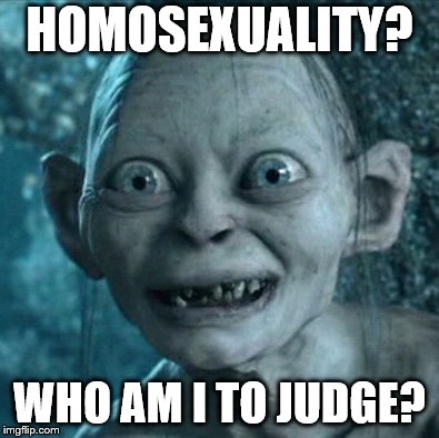 Obviously not a real Pope | HOMOSEXUALITY? WHO AM I TO JUDGE? | image tagged in memes,gollum,francis | made w/ Imgflip meme maker