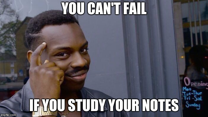 Roll Safe Think About It Meme | YOU CAN'T FAIL IF YOU STUDY YOUR NOTES | image tagged in memes,roll safe think about it | made w/ Imgflip meme maker