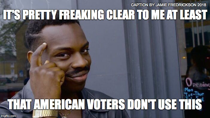 Roll Safe Think About It Meme | IT'S PRETTY FREAKING CLEAR TO ME AT LEAST THAT AMERICAN VOTERS DON'T USE THIS CAPTION BY JAMIE FREDRICKSON 2018 | image tagged in memes,roll safe think about it | made w/ Imgflip meme maker