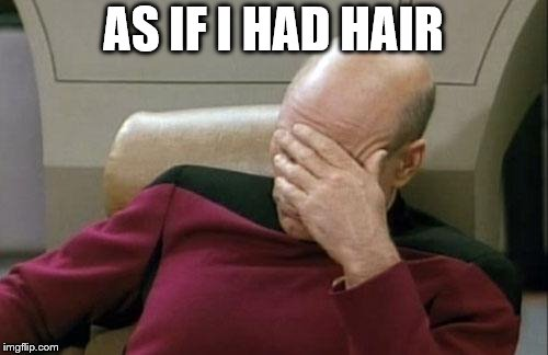 Captain Picard Facepalm Meme | AS IF I HAD HAIR | image tagged in memes,captain picard facepalm | made w/ Imgflip meme maker