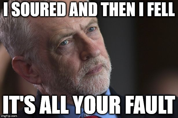 Corbyn - I soured & then I fell | I SOURED AND THEN I FELL IT'S ALL YOUR FAULT | image tagged in corbny eww,party of hate,mcdonnell abbott,momentum,anti-semitism,labour election | made w/ Imgflip meme maker