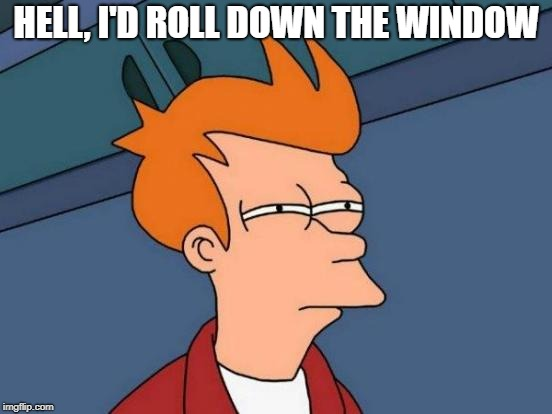 Futurama Fry Meme | HELL, I'D ROLL DOWN THE WINDOW | image tagged in memes,futurama fry | made w/ Imgflip meme maker