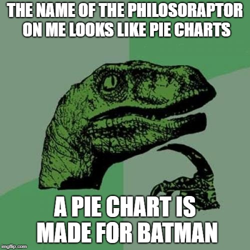P.I.E C.H.A.R.T | THE NAME OF THE PHILOSORAPTOR ON ME LOOKS LIKE PIE CHARTS A PIE CHART IS MADE FOR BATMAN | image tagged in memes,philosoraptor,pie chart,pie charts,bar,jennifer garner | made w/ Imgflip meme maker