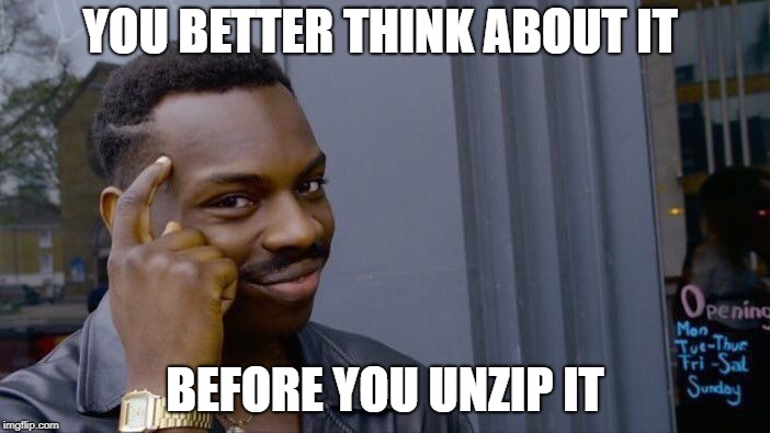 Roll Safe Think About It Meme | YOU BETTER THINK ABOUT IT BEFORE YOU UNZIP IT | image tagged in memes,roll safe think about it | made w/ Imgflip meme maker
