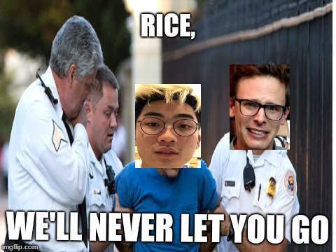 The content cop has found its victim | RICE, WE'LL NEVER LET YOU GO | image tagged in memes,funny memes,idubbbztv | made w/ Imgflip meme maker