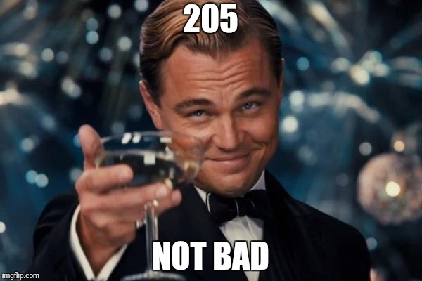 Leonardo Dicaprio Cheers Meme | 205 NOT BAD | image tagged in memes,leonardo dicaprio cheers | made w/ Imgflip meme maker