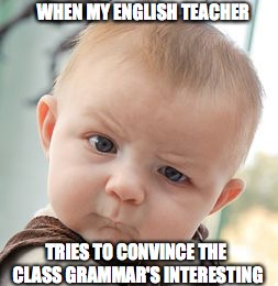 Skeptical Baby Meme | WHEN MY ENGLISH TEACHER TRIES TO CONVINCE THE CLASS GRAMMAR'S INTERESTING | image tagged in memes,skeptical baby | made w/ Imgflip meme maker