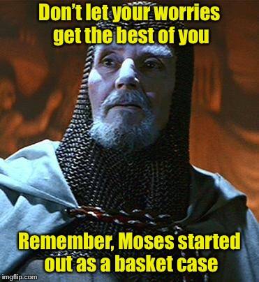 A pun of biblical proportions | Don't let your worries get the best of you Remember, Moses started out as a basket case | image tagged in you have chosen wisely,memes,moses,basket,bible | made w/ Imgflip meme maker