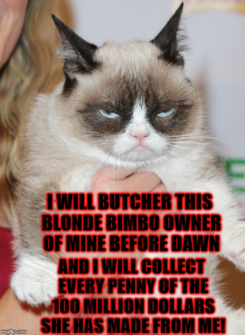 I WILL BUTCHER THIS BLONDE BIMBO OWNER OF MINE BEFORE DAWN AND I WILL COLLECT EVERY PENNY OF THE 100 MILLION DOLLARS SHE HAS MADE FROM ME! | image tagged in grumpy cat | made w/ Imgflip meme maker