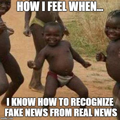 Third World Success Kid Meme | HOW I FEEL WHEN... I KNOW HOW TO RECOGNIZE FAKE NEWS FROM REAL NEWS | image tagged in memes,third world success kid | made w/ Imgflip meme maker