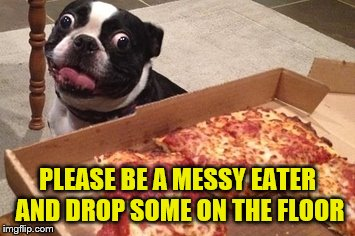 PLEASE BE A MESSY EATER AND DROP SOME ON THE FLOOR | made w/ Imgflip meme maker