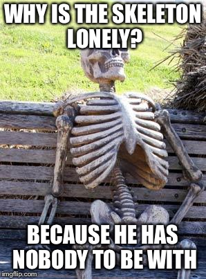 Waiting Skeleton Meme | WHY IS THE SKELETON LONELY? BECAUSE HE HAS NOBODY TO BE WITH | image tagged in memes,waiting skeleton | made w/ Imgflip meme maker