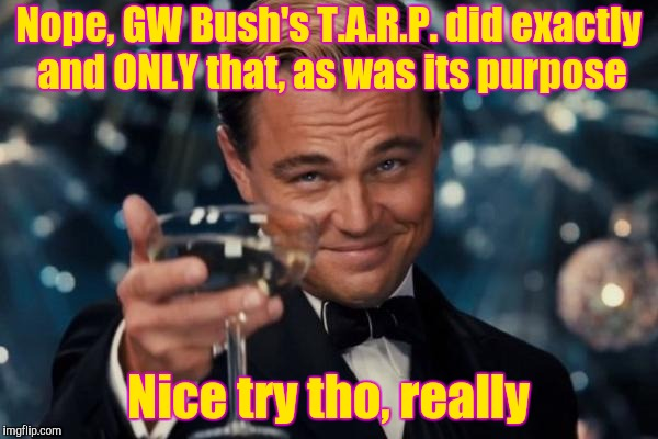 Leonardo Dicaprio Cheers Meme | Nope, GW Bush's T.A.R.P. did exactly and ONLY that, as was its purpose Nice try tho, really | image tagged in memes,leonardo dicaprio cheers | made w/ Imgflip meme maker