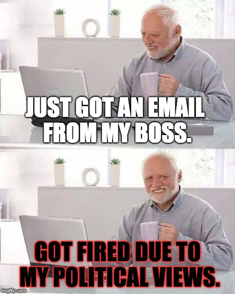 Political Discrimination at its Finest | JUST GOT AN EMAIL FROM MY BOSS. GOT FIRED DUE TO MY POLITICAL VIEWS. | image tagged in memes,hide the pain harold,politics,discrimination,fired,boss | made w/ Imgflip meme maker