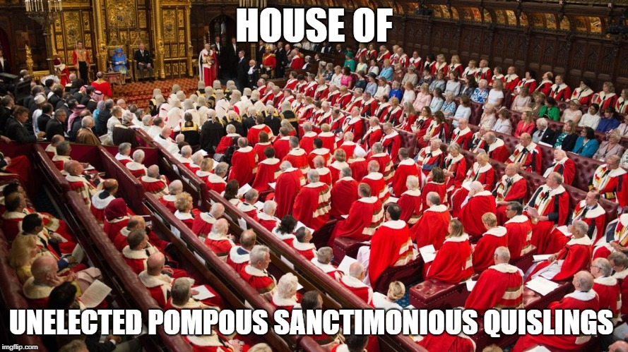 HOUSE OF UNELECTED POMPOUS SANCTIMONIOUS QUISLINGS | image tagged in parliament | made w/ Imgflip meme maker