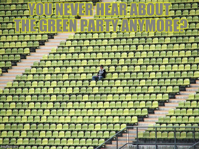 Lonely fan | YOU NEVER HEAR ABOUT THE GREEN PARTY ANYMORE? | image tagged in lonely fan,green party,bad jokes,meme,memes,green | made w/ Imgflip meme maker