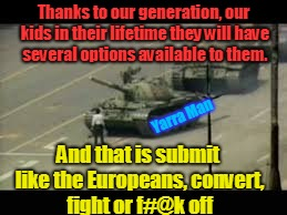 Thanks to our generation, our kids in their lifetime they will have several options available to them. And that is submit like the Europeans | image tagged in fight or fk off | made w/ Imgflip meme maker