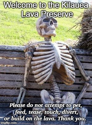 Waiting Skeleton Meme | Welcome to the Kilauea Lava Preserve Please do not attempt to pet, feed, tease, touch, divert, or build on the lava. Thank you. | image tagged in memes,waiting skeleton | made w/ Imgflip meme maker