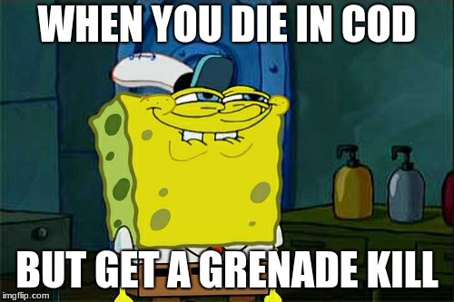 Dont You Squidward Meme | WHEN YOU DIE IN COD BUT GET A GRENADE KILL | image tagged in memes,dont you squidward | made w/ Imgflip meme maker
