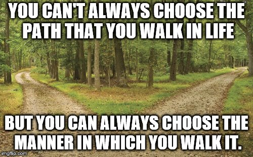 YOU CAN'T ALWAYS CHOOSE THE PATH THAT YOU WALK IN LIFE BUT YOU CAN ALWAYS CHOOSE THE MANNER IN WHICH YOU WALK IT. | image tagged in twin paths | made w/ Imgflip meme maker