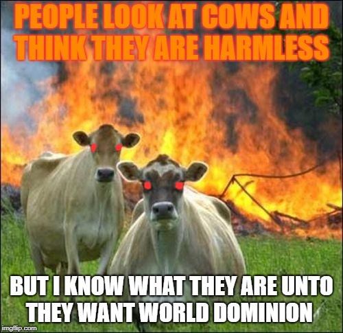 Evil Cows Meme | PEOPLE LOOK AT COWS AND THINK THEY ARE HARMLESS BUT I KNOW WHAT THEY ARE UNTO THEY WANT WORLD DOMINION | image tagged in memes,evil cows | made w/ Imgflip meme maker
