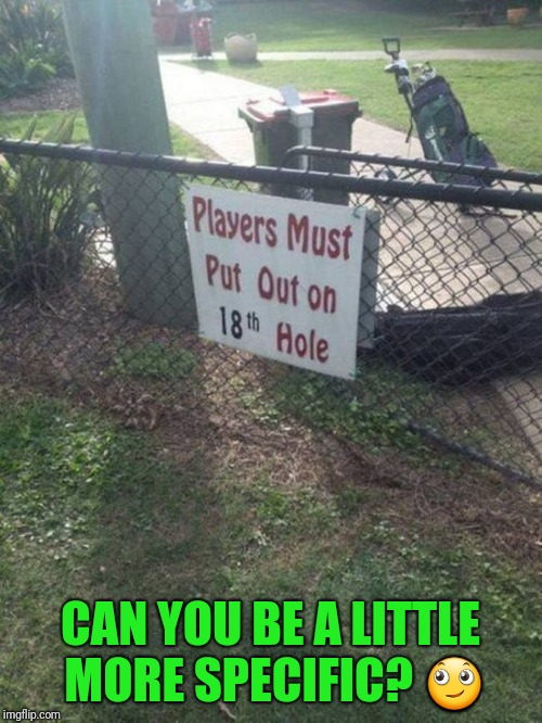 A little more specific.  | CAN YOU BE A LITTLE MORE SPECIFIC?  | image tagged in golf,sex | made w/ Imgflip meme maker