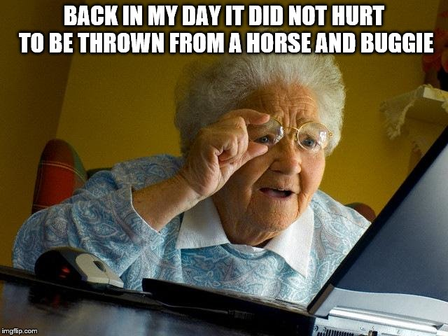 Grandma Finds The Internet Meme | BACK IN MY DAY IT DID NOT HURT TO BE THROWN FROM A HORSE AND BUGGIE | image tagged in memes,grandma finds the internet | made w/ Imgflip meme maker