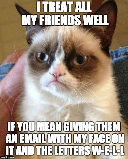 Emails that are worse than Hillary's | I TREAT ALL MY FRIENDS WELL IF YOU MEAN GIVING THEM AN EMAIL WITH MY FACE ON IT AND THE LETTERS W-E-L-L | image tagged in memes,grumpy cat | made w/ Imgflip meme maker