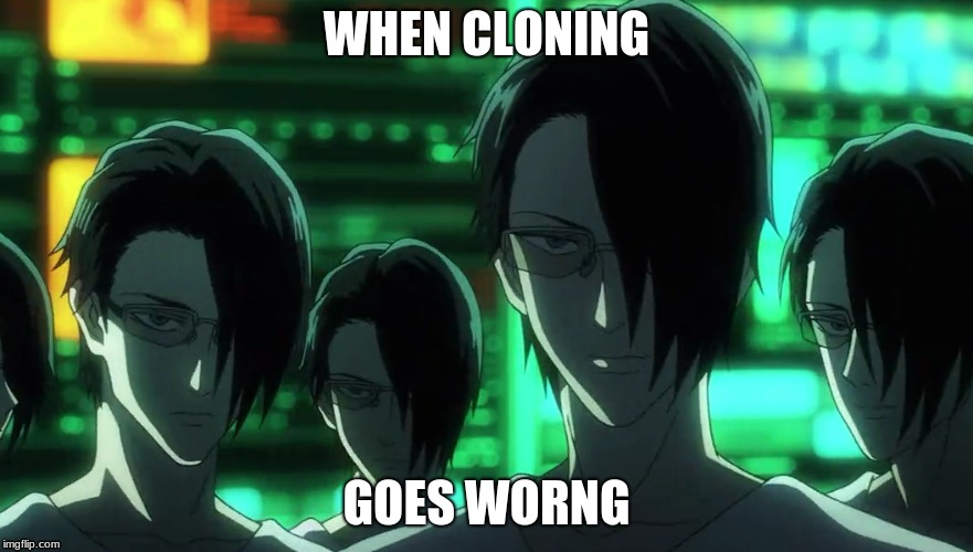 cloning | WHEN CLONING GOES WORNG | image tagged in one punch man | made w/ Imgflip meme maker