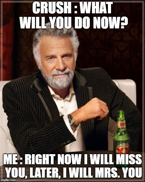 The Most Interesting Man In The World Meme | CRUSH : WHAT WILL YOU DO NOW? ME : RIGHT NOW I WILL MISS YOU, LATER, I WILL MRS. YOU | image tagged in memes,the most interesting man in the world | made w/ Imgflip meme maker