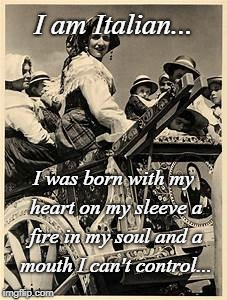 I'm an Italian... | I am Italian... I was born with my heart on my sleeve a fire in my soul and a mouth I can't control... | image tagged in born,heart,fire,soul,mouth | made w/ Imgflip meme maker