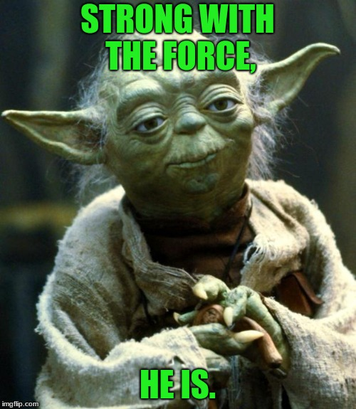 STRONG WITH THE FORCE, HE IS. | image tagged in memes,star wars yoda | made w/ Imgflip meme maker