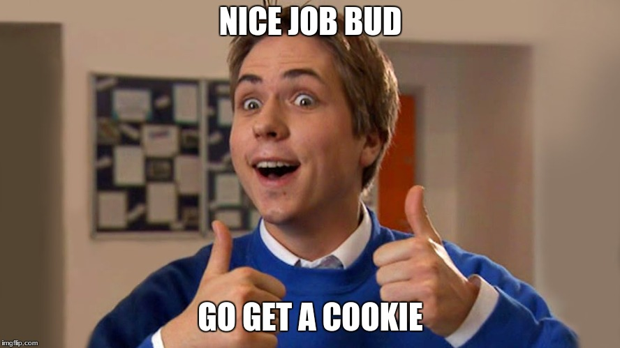 NICE JOB BUD; GO GET A COOKIE | image tagged in ooo bag friend | made w/ Imgflip meme maker