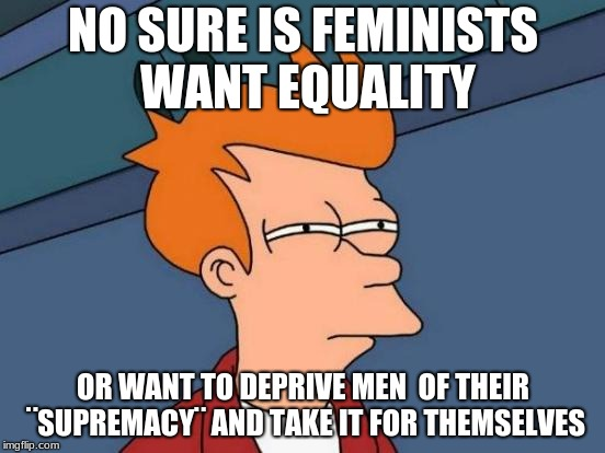 Futurama Fry Meme | NO SURE IS FEMINISTS WANT EQUALITY OR WANT TO DEPRIVE MEN  OF THEIR ¨SUPREMACY¨ AND TAKE IT FOR THEMSELVES | image tagged in memes,futurama fry | made w/ Imgflip meme maker